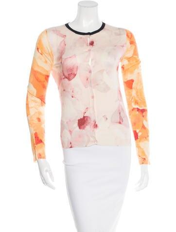 Christian Dior Floral Print Cashmere Cardigan None