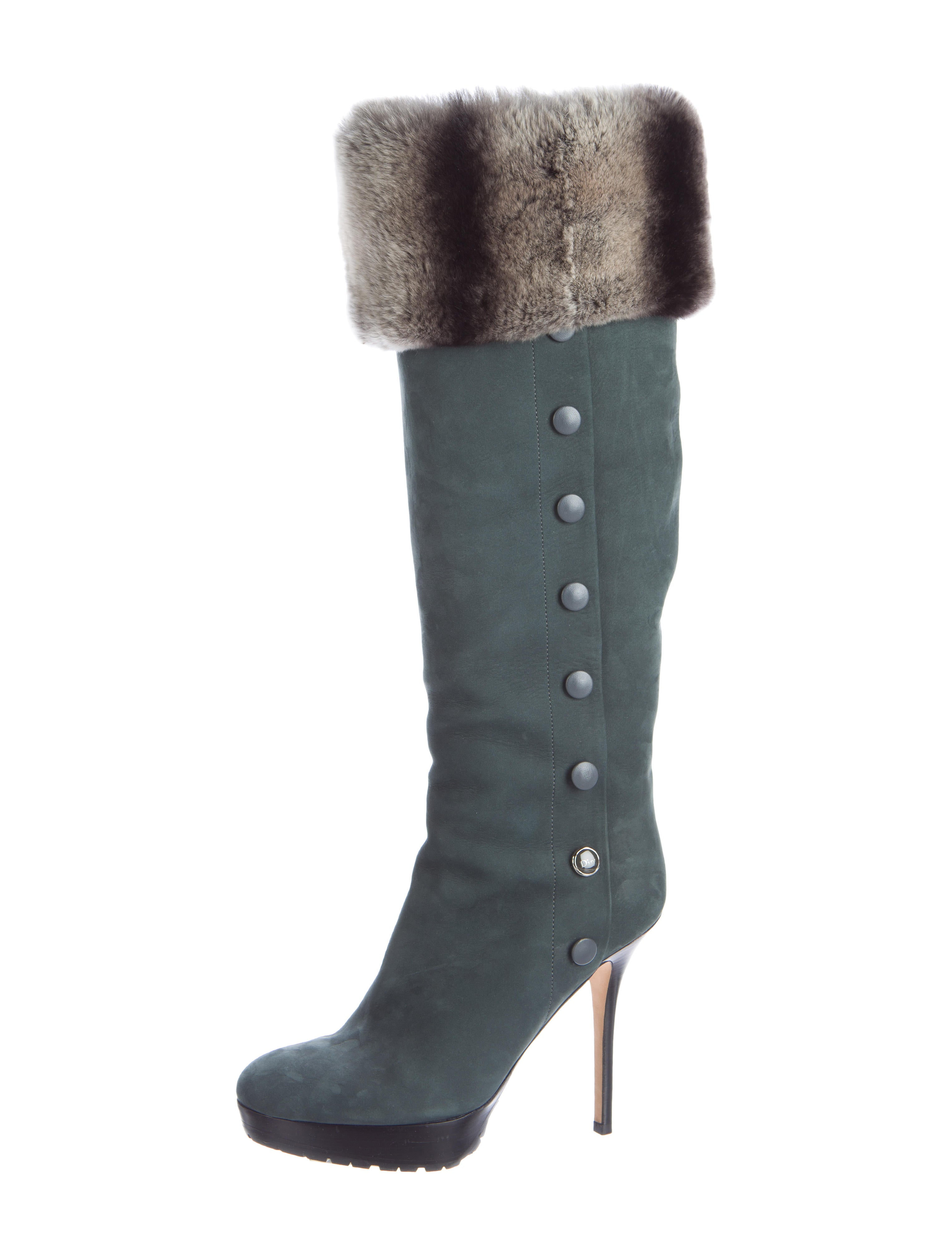 christian fur trimmed suede boots shoes chr45937