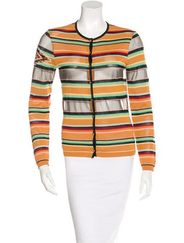 Christian Dior Embellished Striped Cardigan None
