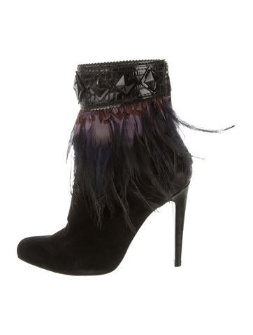 Feather-Trimmed Ankle Boots