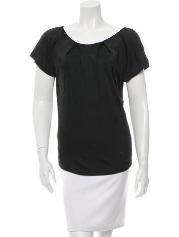 Christian Dior Pleated Short Sleeve Top None