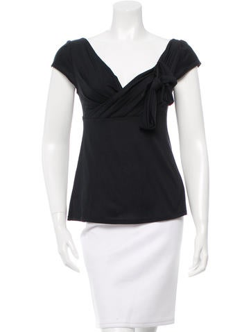 Christian Dior Surplice Neck Bow Top None