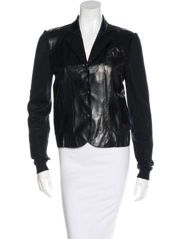 Christian Dior Contrast Leather Blazer None