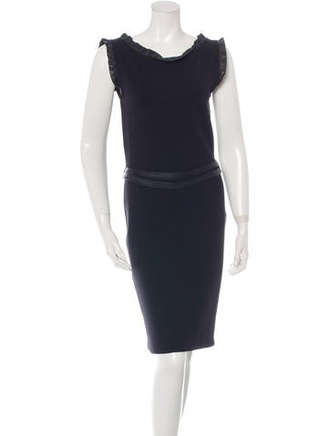 Christian Dior Ruffle-Accented Knit Dress None