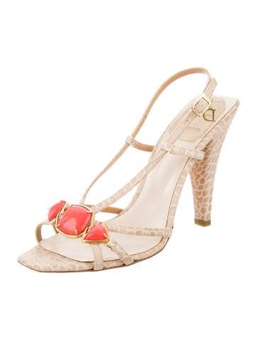 Embossed Slingback Sandals