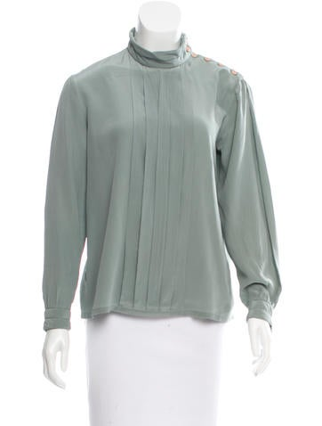 Christian Dior Pleated Silk Top None