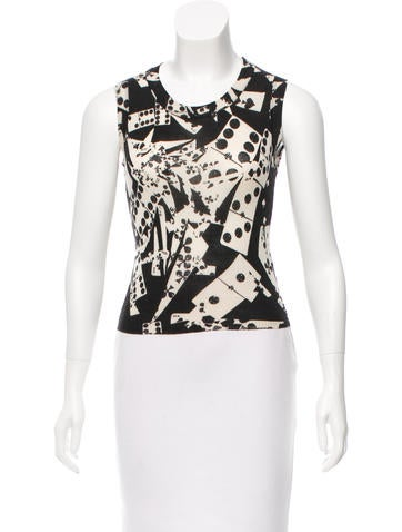 Christian Dior Printed Wool-Blend Top None