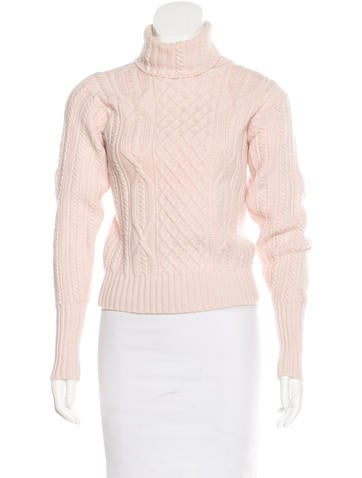 Christian Dior Cable Knit Turtleneck Sweater None