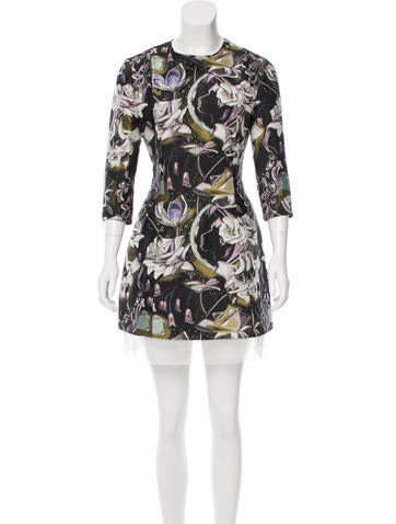 Christian Dior Mesh-Trimmed Floral Jacquard Dress None