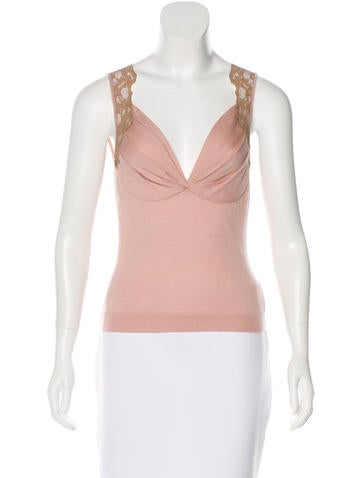 Christian Dior Cashmere-Blend Sleeveless Top None
