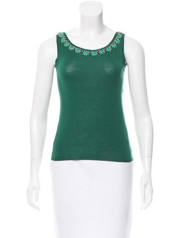 Christian Dior Jeweled Wool Top None