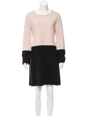 Christian Dior Wool Colorblock Dress None