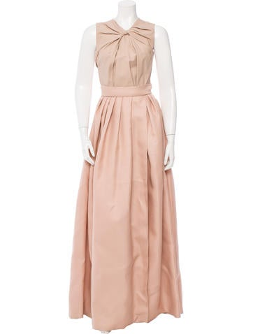 Christian Dior Leather-Paneled Gown None