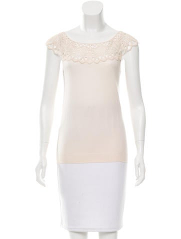 Christian Dior Lace Embroidered Wool Top None