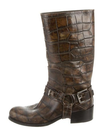 Christian Dior Embossed Mid-Calf Boots