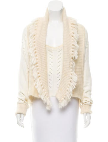 Christian Dior Open Knit Fringe-Trimmed Cardigan Set None