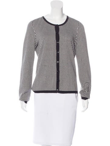 Christian Dior Silk-Blend Houndstooth Cardigan None