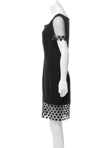Mesh-Trimmed Knee-Length Dress