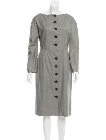 Christian Dior Wool-Blend Midi Dress None