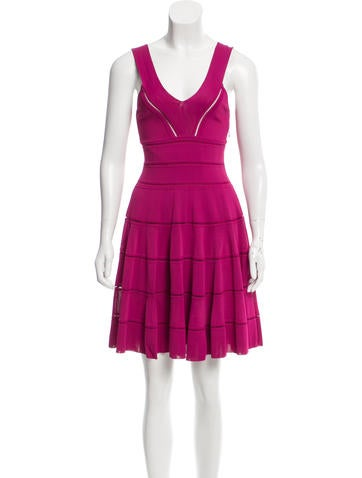 Christian Dior Open Knit-Trimmed Flared Dress None