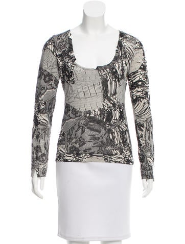 Christian Dior Wool & Cashmere-Blend Printed Top None