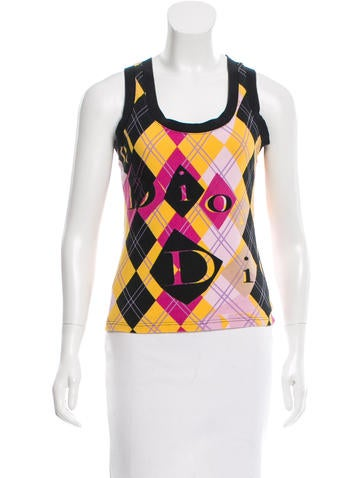 Christian Dior Plaid Sleeveless Top None