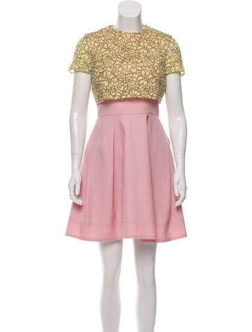 Christian Dior Lace-Accented Mini Dress