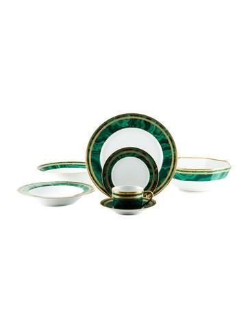 Christian Dior 32-Piece Gaudron Malachite Dinner Service None