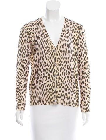 Christian Dior Cashmere Leopard Print Cardigan None