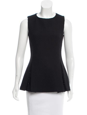 Christian Dior Virgin Wool Pleated Top None