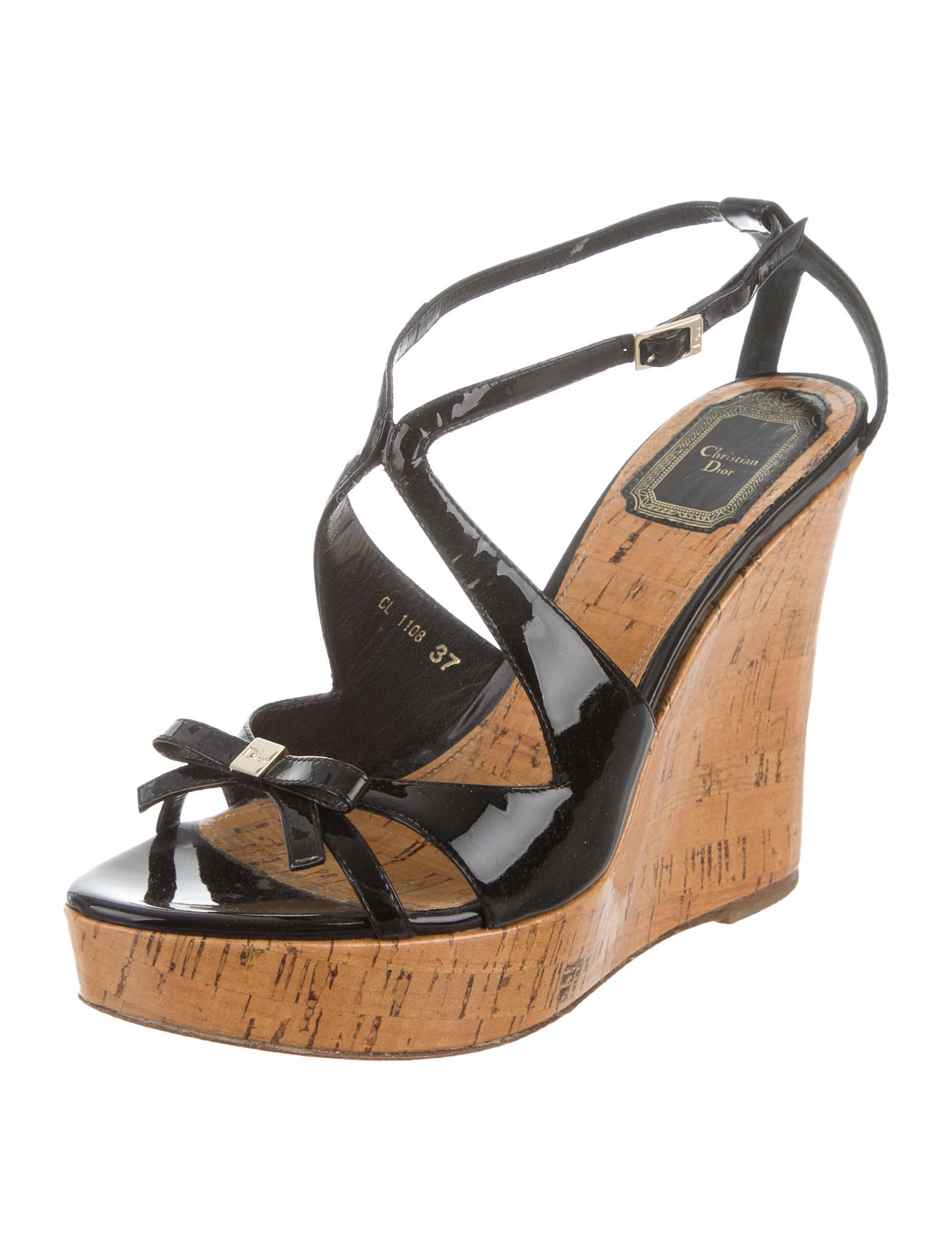 christian patent leather wedge sandals shoes