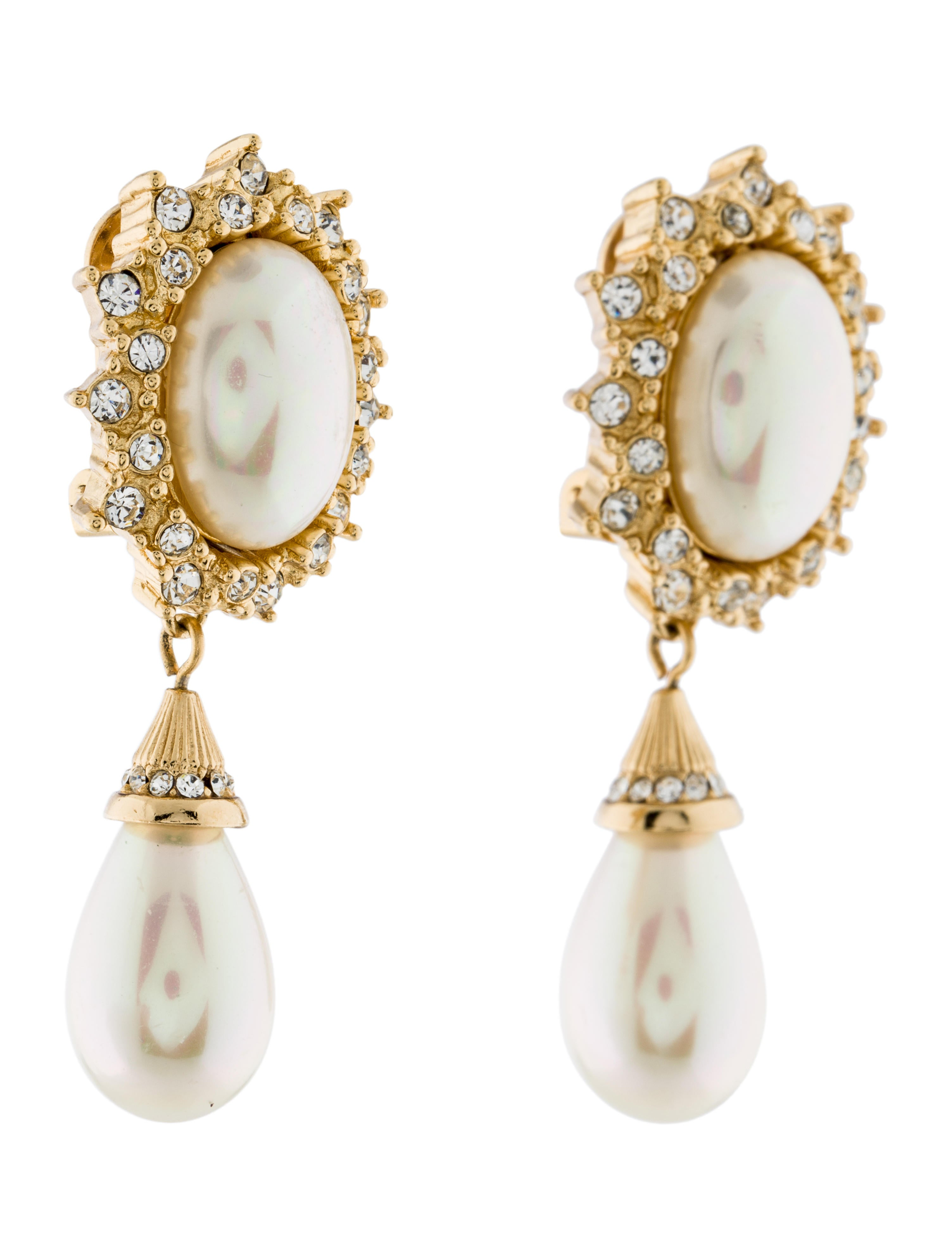 christian dior crystal pearl drop clip on earrings. Black Bedroom Furniture Sets. Home Design Ideas