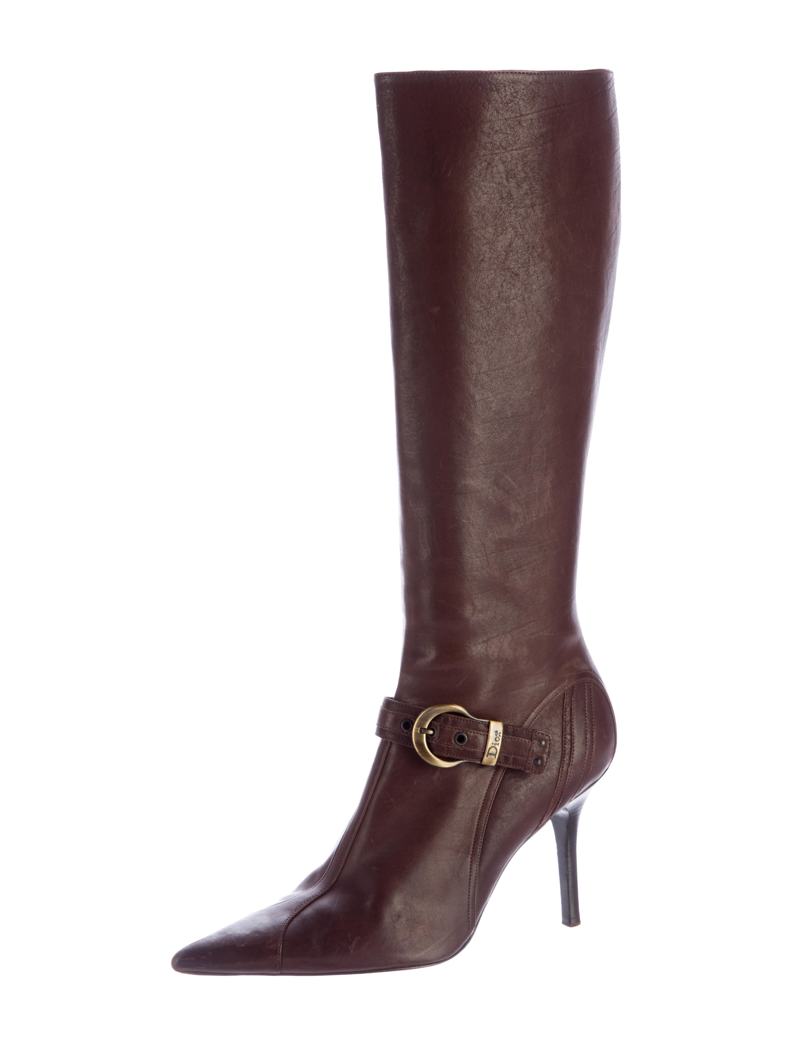 christian buckle accented knee high boots shoes