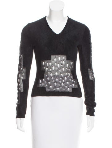 Christian Dior Textured Open Knit-Acccented Top None
