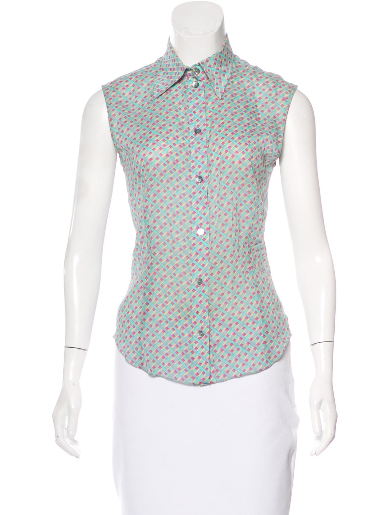 Christian dior printed button up top clothing chr52994 for Christian dior button up shirt