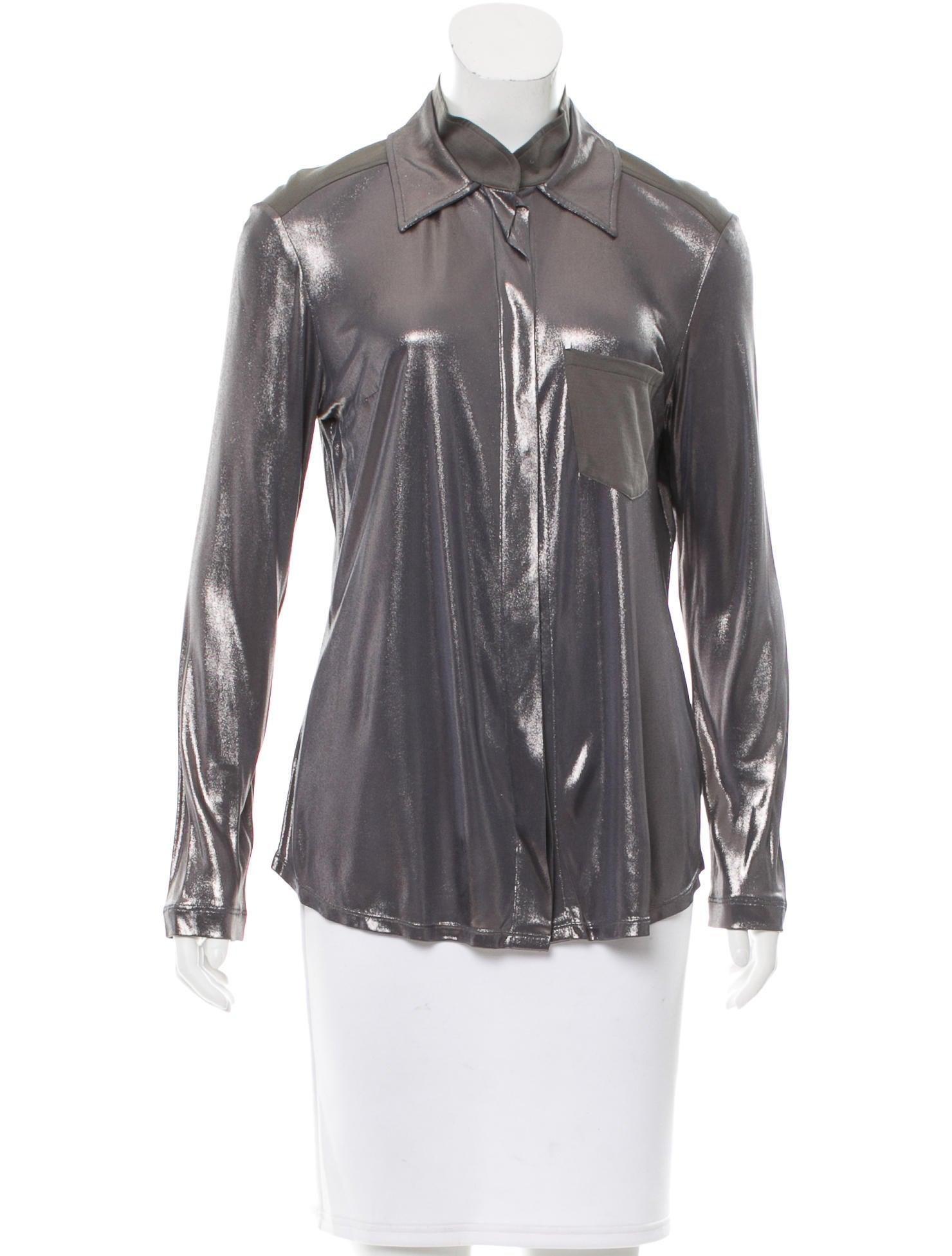 Christian dior metallic button up top clothing for Christian dior button up shirt
