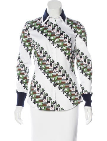 Christian Dior Abstract Print Button-Up Top None