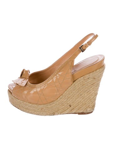 Christian Dior Cannage Espadrille Wedges None