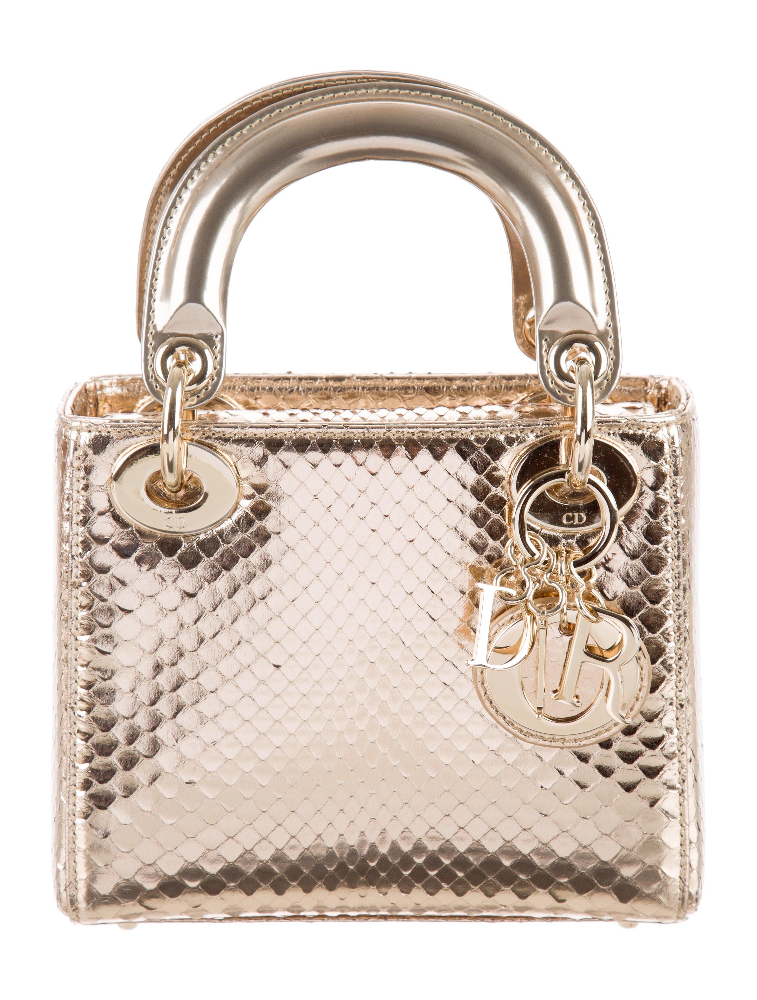 christian dior mini python lady dior bag handbags chr54088 the realreal. Black Bedroom Furniture Sets. Home Design Ideas
