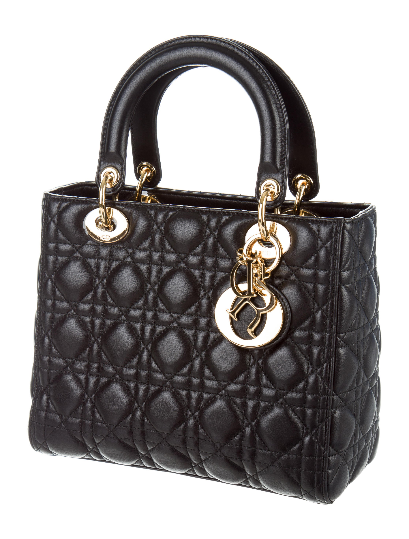 christian dior 2015 medium lady dior handbags chr55589 the realreal. Black Bedroom Furniture Sets. Home Design Ideas
