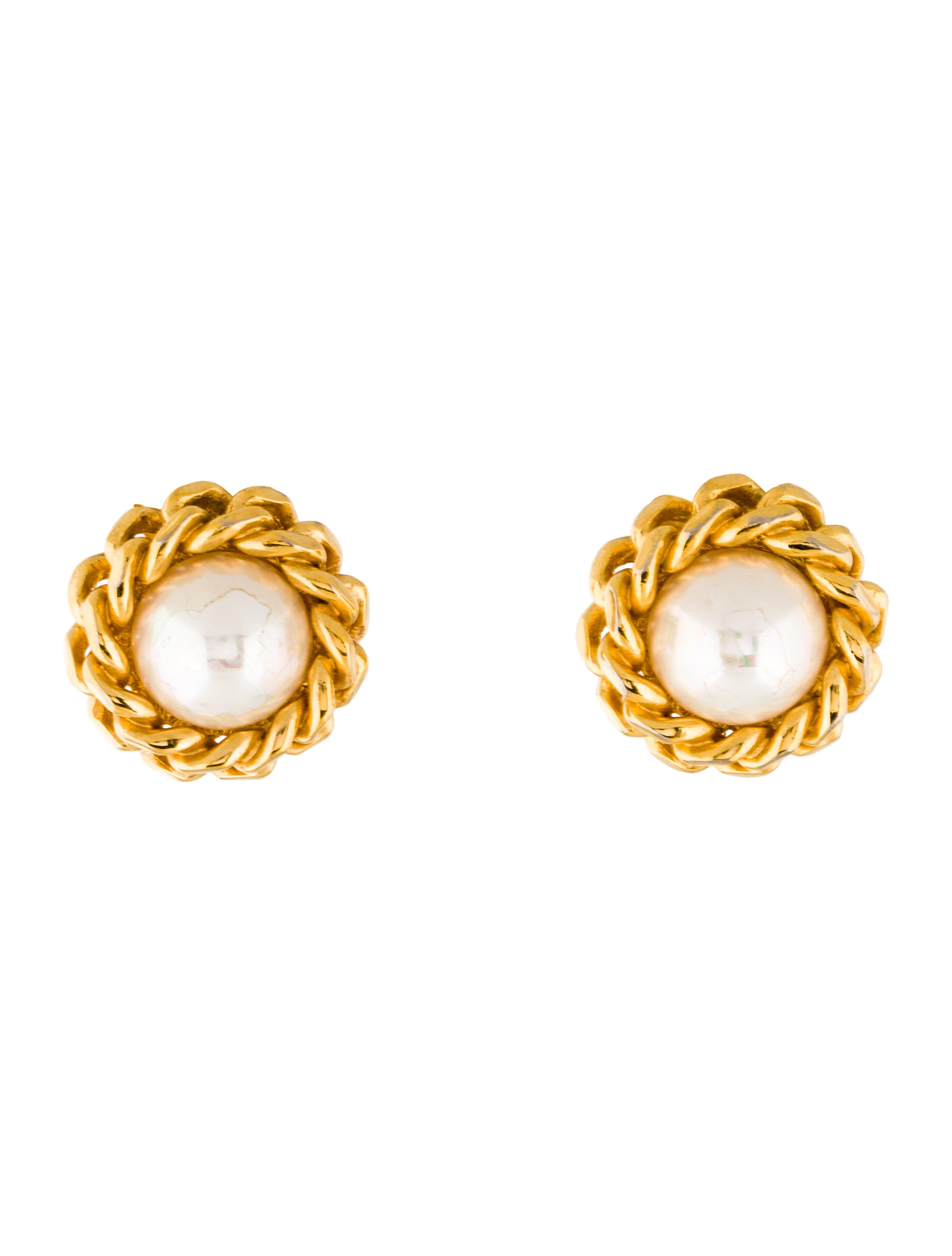 christian dior faux pearl clip on earrings earrings. Black Bedroom Furniture Sets. Home Design Ideas