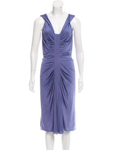 Christian Dior Pleated Midi Dress None