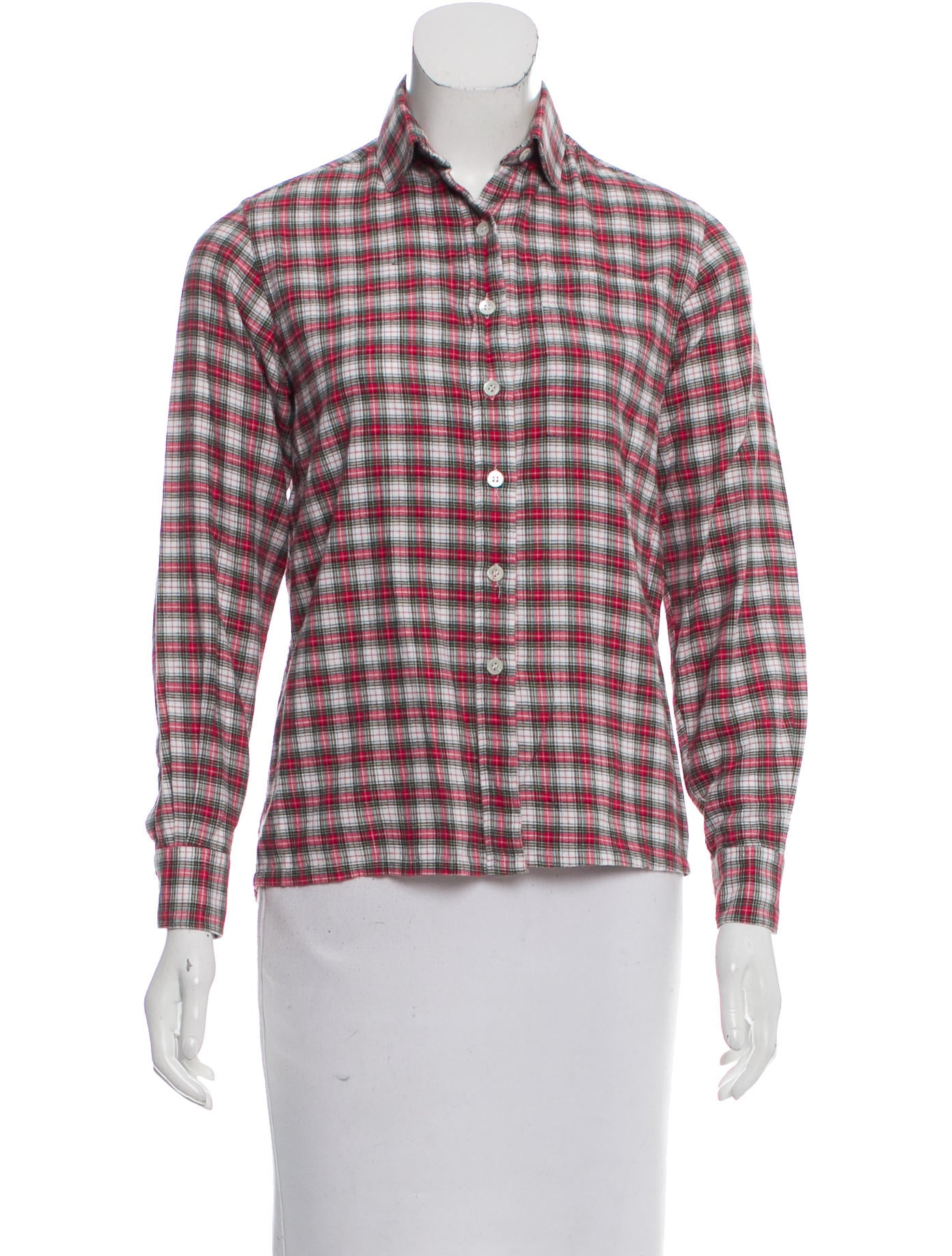 Christian dior plaid button up top clothing chr56771 for Christian dior button up shirt