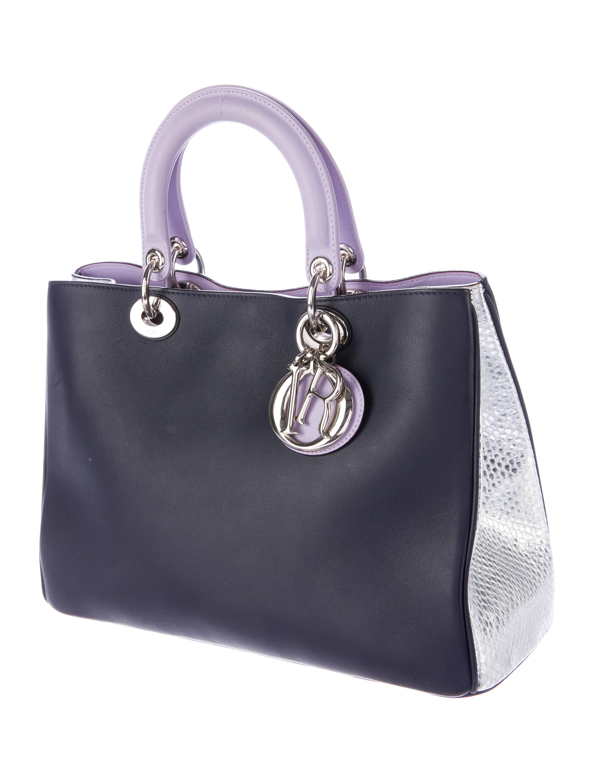 Christian Dior Snakeskin-Trimmed Medium Diorissimo Bag ...