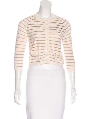 Christian Dior Striped Long Sleeve Cardigan None