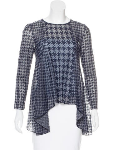 Christian Dior Houndstooth Knit Top None
