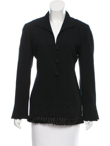Christian Dior Wool Fringe-Trimmed Jacket None