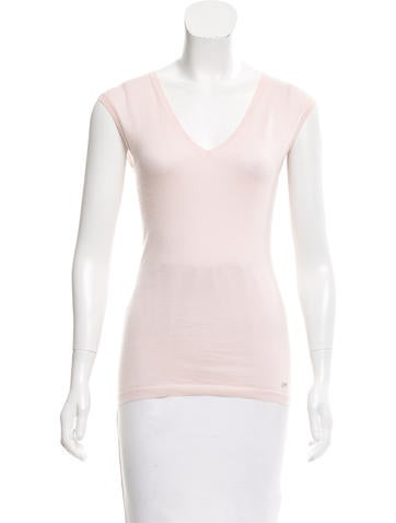 Christian Dior Sleeveless Cashmere & Silk-Blend Top None