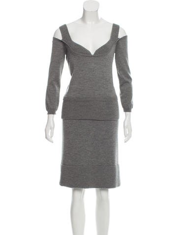 Christian Dior Wool Rib Knit Skirt Set None