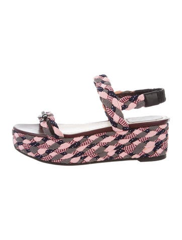 Christian Dior Woven Platform Wedges None